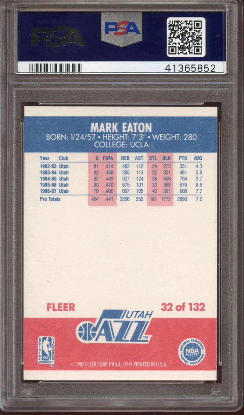 Details about 1987-88 FLEER #32 MARK EATON PSA 8 JAZZ *K1594