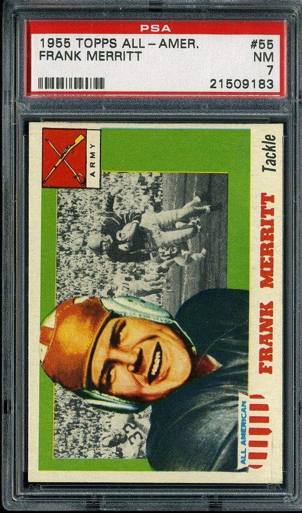 1955 TOPPS ALL-AMERICAN #55 FRANK MERRITT PSA 7 *DS1088
