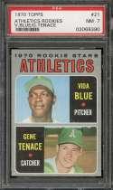 1970 TOPPS #21 BLUE/TENACE RCV ATHLETICS ROOKIES PSA 7 NM