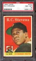 1958 TOPPS #470 R.C. STEVENS PSA 8 RC ROOKIE NICELY CENTERED