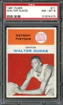 1961-62 FLEER #11 WALTER DUKES PSA 8