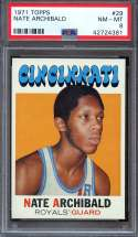 1971-72 TOPPS #29 NATE ARCHIBALD PSA 8 RC ROOKIE NICELY CENTERED HOF