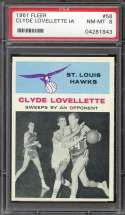 1961-62 FLEER #58 CLYDE LOVELLETTE PSA 8 HOF