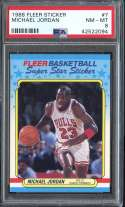 1988-89 FLEER STICKERS #7 MICHAEL JORDAN PSA 8 HOF NICELY CENTERED