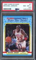1988-89 FLEER STICKERS #7 MICHAEL JORDAN PSA 8.5 HOF NICELY CENTERED