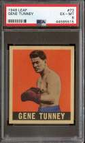 1948 LEAF KNOCK-OUT BUBBLE GUM #73 GENE TUNNEY PSA 6 HOF CENTERED