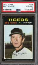 1971 TOPPS #208 BILLY MARTIN MG PSA 8 NICELY CENTERED