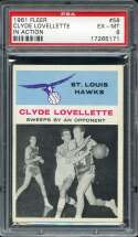 1961-62 FLEER #58 CLYDE LOVELLETTE PSA 6 HOF