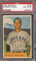 1954 BOWMAN #125 WARREN HACKER PSA 8 CUBS