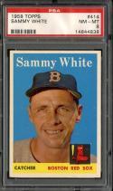 1958 TOPPS #414 SAMMY WHITE PSA 8 RED SOX