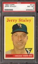 1958 TOPPS #412 JERRY STALEY PSA 8 WHITE SOX