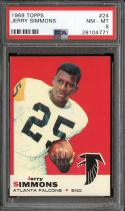 1969 TOPPS #24 JERRY SIMMONS PSA 8 FALCONS CENTERED