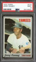 1970 TOPPS #219 JERRY KENNEY PSA 9 YANKEES