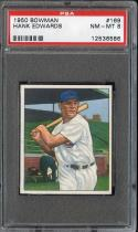 1950 BOWMAN #169 HANK EDWARDS PSA 8 CUBS