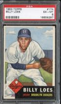 1953 TOPPS #174 BILLY LOES PSA 6 DODGERS