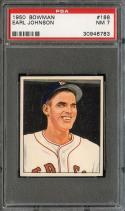 1950 BOWMAN #188 EARL JOHNSON PSA 7 RED SOX NICELY CENTERED