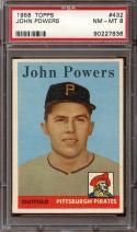 1958 TOPPS #432 JOHN POWERS PSA 8 PIRATES