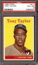 1958 TOPPS #411 TONY TAYLOR PSA 8 CUBS