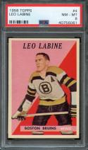 1958 TOPPS #4 LEO LABINE PSA 8 BRUINS