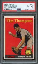 1958 TOPPS #57 TIM THOMPSON (YELLOW NAME) PSA 6 TIGERS